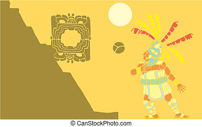 Mayan Ballgame 1 - Single Mayan Ballplayer in ball court...