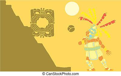 Mayan Ballgame #1 - Single Mayan Ballplayer in ball court...