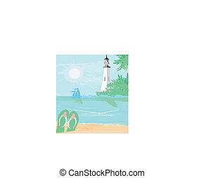lighthouse seen from a tiny beach