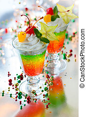 layered sparkling jelly dessert - Layered sparkling jelly...