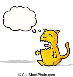 enojado, caricatura, gato
