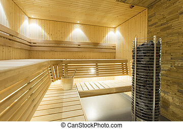 Sauna - Interior of a fresh relaxing finnish sauna