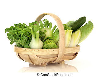 Salad Vegetables - Salad lettuces, fennel, chicory and...