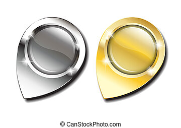 Gold and silver map pins