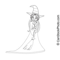 beautiful doodle little witch