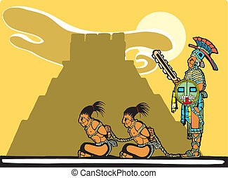 Mayan Sacrifices - Mayan prisoners being guarded before...