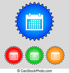 Calendar sign icon days month symbol Date button Set colur...