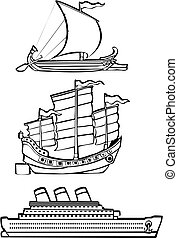 three nautical ships - three simple ships from history...