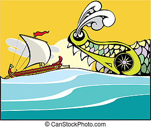 Greek Ship and Sea Monster - Greek ship being eaten by a sea...