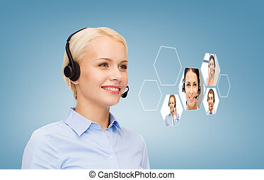 smiling woman helpline operator - business, technology, call...