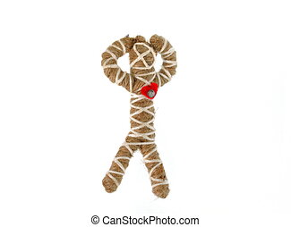 rope voodoo doll isolated on white