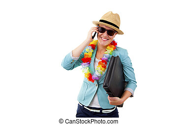 woman talking by phone smiling in hawaii flowers over white...