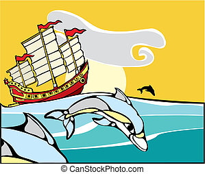Chinese Junk with dolphins - Chinese Junk sailing with a pod...