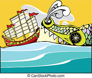Chinese Junk and Sea Monster - Chinese Junk being threatened...