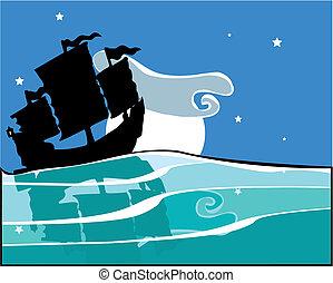 Chinese Junk at night - Chinese Junk sailing at night with...