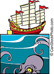 Chinese Junk and Octopus