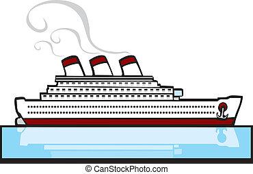 Ocean Liner #1  - Ocean liner on warm blue tropical waters.
