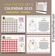 LOVE THE DOG CALENDAR 2015 SET 5 - calendar 2015 september...