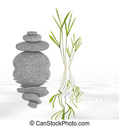 Zen Garden Tranquility - Zen garden abstract of grey stones...
