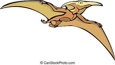 Pterodactyl dinosaur flying overhead in isolated image.