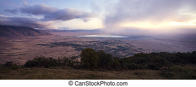 Sunrise in the Ngorongoro crater - Early morning in the...