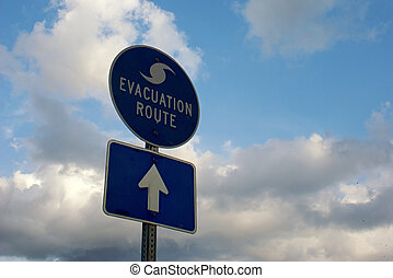evacuation route sign - blue and white hurricane evacuation...