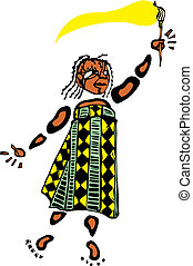 Girl with Paintbrush #2 - Girl in an african patterned dress...