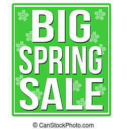 Big spring sale green sign isolated on a white background,...