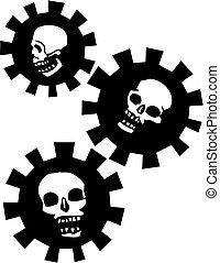 Halo Gear Skulls - Human Skulls with halos of a mechanical...