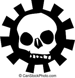 Gear Skull #3 - Human Skull with a halo of a mechanical...