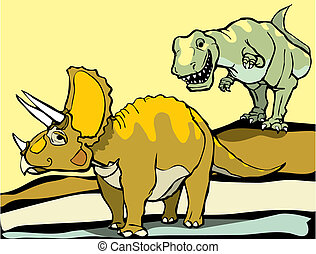 Hunting the Triceratops - Smiling Tyrannosaurus Rex hunts...
