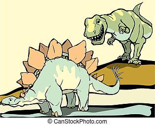 Hunting the Stegasaurus - Smiling Tyrannosaurus Rex hunts...