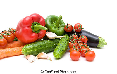 fresh vegetables on white background close up