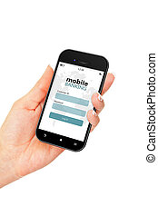 mobile phone with mobile banking login page holded by hand...