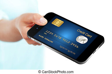 mobile phone with credit card holded by hand isolated over...