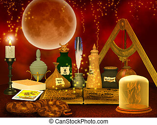 alchemy still life background - magical fantasy background