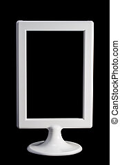 Isolated white picture frame - white tabletop picture frame...
