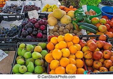 Various fruits at a market