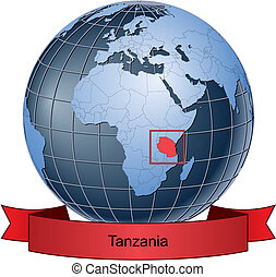 Tanzania, position on the globe Vector version with separate...