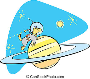 SpaceDog and Saturn - Retro Space Dog flies by planet...