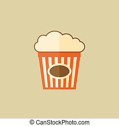 Popcorn Food Flat Icon Vector EPS 10