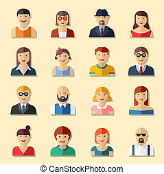 Flat round avatar icons, faces, people icons - Flat round...