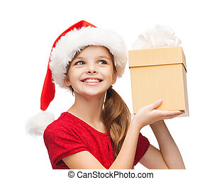 smiling girl in santa helper hat with gift box - christmas,...