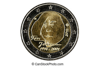 Obverse 2 Euro coins with the image of the well-known...