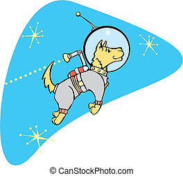 SpaceDog with Jetpack - Retro Space Dog with a jet pack