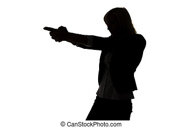 Silhouette of secret agent woman on white background