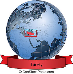 Turkey, position on the globe Vector version with separate...