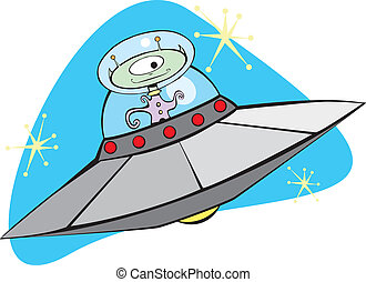Retro Flying Saucer and Martian - Retro Alien Flying Saucer...