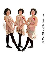 Preteen Irish Dance Trio in Wigs