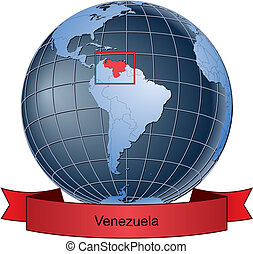 Venezuela, position on the globe Vector version with...